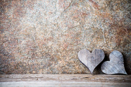 romance background: Wooden hearts rustic style. Greeting card. Stock Photo