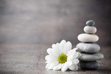 zen fleur Les pierres et les fleurs, zen comme concepts. Banque d