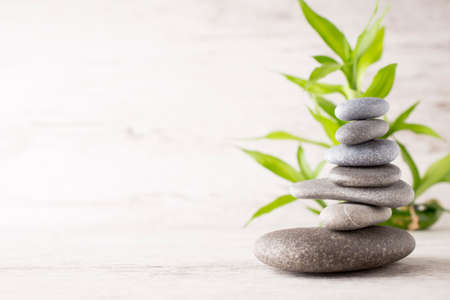 spa therapy: Spa stones on the grey background.