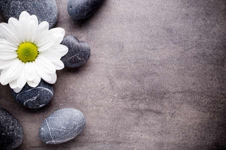 Spa stenen met bloem Stockfoto