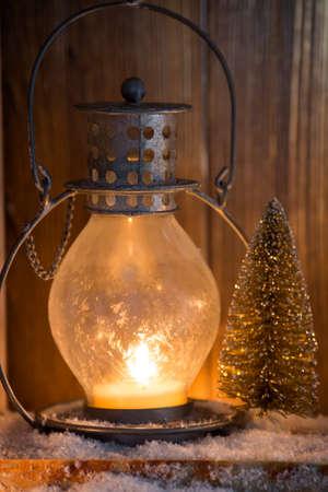 christmas decor: Lantern with candles, Christmas decor. Greeting Card.