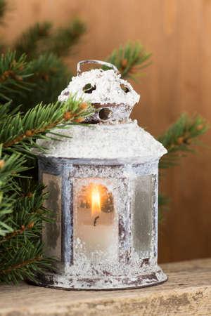 christmas decor: Lantern with christmas tree, Christmas decor. Greeting Card.
