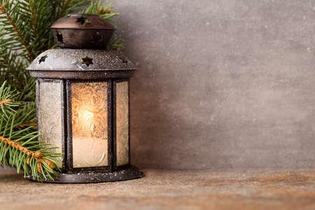 vintage christmas background: Lantern with christmas tree