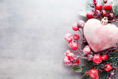 Christmas heart, gray metal background. Stock Photo
