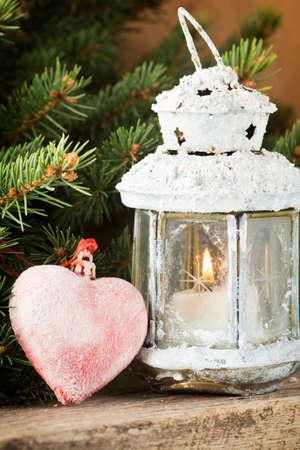 christmas decor: Lantern with Christmas decor
