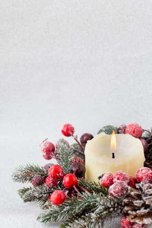 velas de navidad: �rbol de Navidad, tarjeta de felicitaci�n. Decoraci�n.