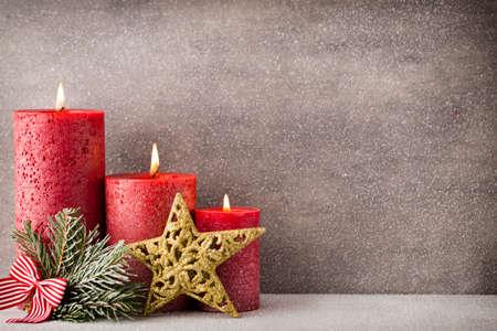 Christmas candles and lights. Christmas background.