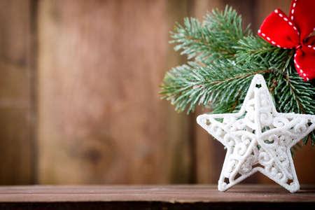 christmas decor: On wooden background Christmas decor.