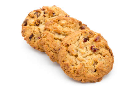 carbs: Oatmeal cookies with cranberries on a white background.