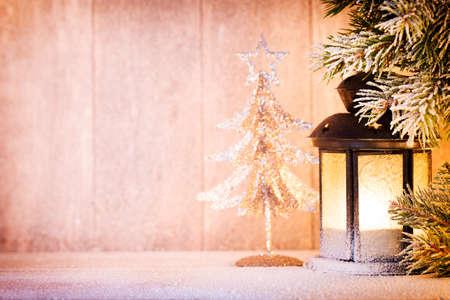 christmas decor: Lantern. Christmas light, christmas decor and scene.
