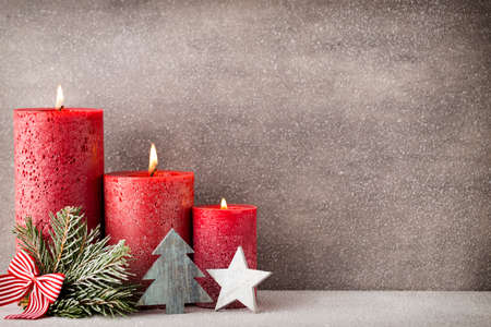 hope: Christmas candles and lights. Christmas background.
