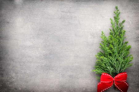 christmas decor: Green pine branch. Christmas decor background. Stock Photo