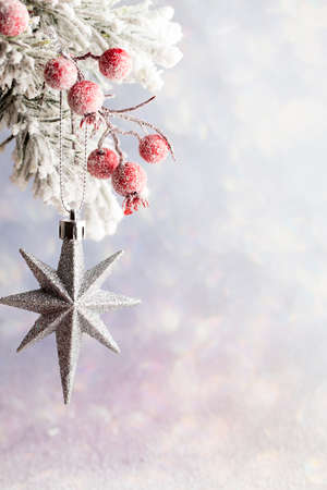 star ornament: Christmas gold decoration over wooden background.
