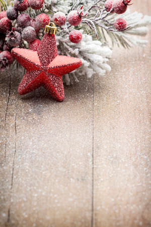 christmas  ornament: Christmas decoration over wooden background. Stock Photo