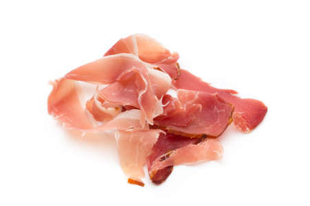 jamon: Jamon of ham on white background. Stock Photo