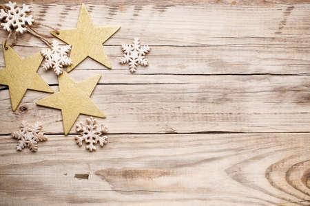 christmas decor: Christmas backgrounds. Christmas decor on the wooden background. Stock Photo