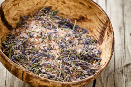 Lavender bath salt. Spa accessories,