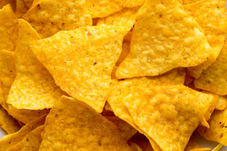 corn chips: Nachos chips. Corn chips on the bowl. Stock Photo