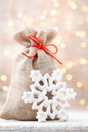 linen bag: Christmas linen bag for gifts with christmas toys. Christmas Decor.