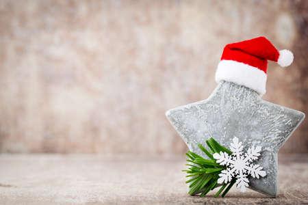vintages: Stars decoration. Christmas symbol with santa hat. Vintages background.