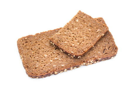 burnt toast: Slices of rye bread isolated on white background.