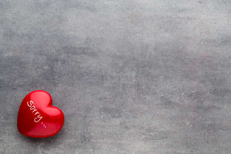 heartfelt: Red heart on the gray background