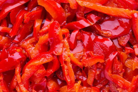 caper: Red pepper marinade baked on grill. Stock Photo