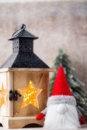 Christmas  lantern decor with gnome. Holiday greeting card. Stock Photo