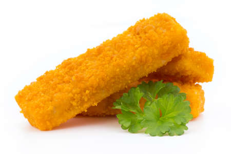 Fish fingers on the white background.