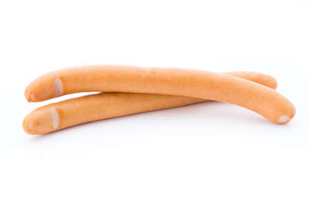 Sausages with pearsly on white background. Stock Photo