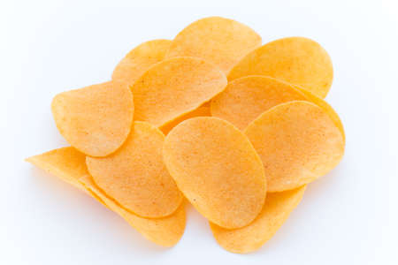 Potato chips on the papric. Eco food.