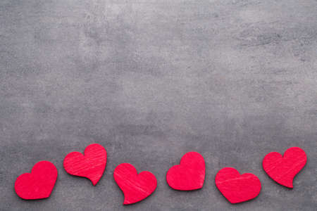 heartfelt: Red heart on the gray background. Stock Photo