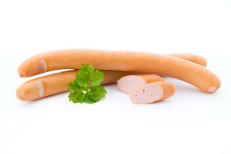 wienie: Sausages with pearsly on white background. Stock Photo