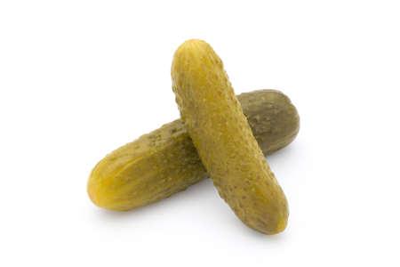 Pickled fresh cucumber on white background.