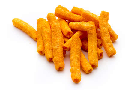 fattening: Pile of sweet potato or yam fries isolated on white background. Stock Photo