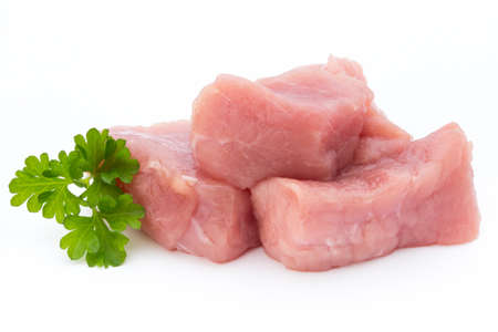 fresh meat on slice on the white background. Stock Photo