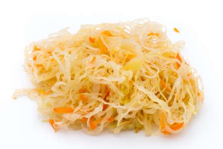 Heap of sauerkraut on white background.