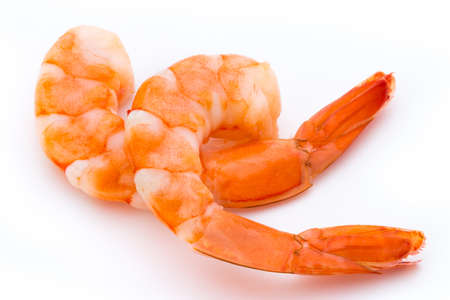 Steamed tiger shrimp isolated on white background. Stock Photo