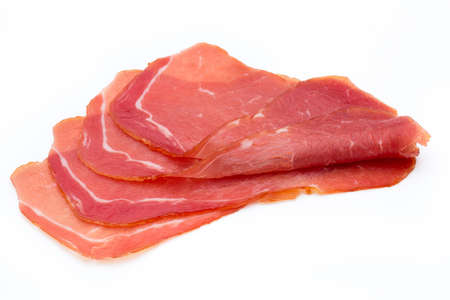 Pork ham slices isolated on white background.
