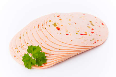 Sliced boiled ham sausage isolated on white background, top view. Stock Photo - 78148952