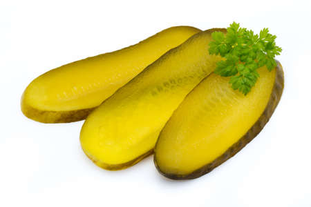 Pickled fresh cucumber on white background.