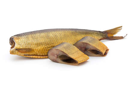 Smoked trout in front of a white background. Stock Photo