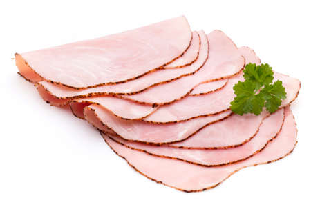 Sliced boiled ham sausage isolated on white background, top view.