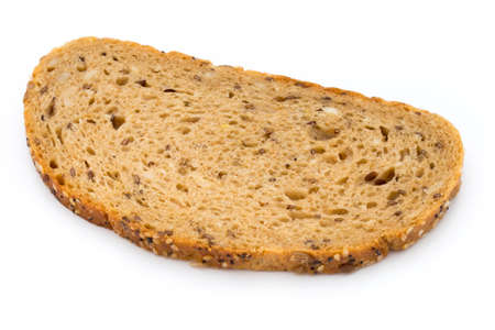 Rye bread slice isolated on white background.
