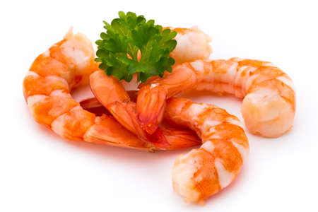 crustaceans: Steamed tiger shrimp isolated on white background. Stock Photo