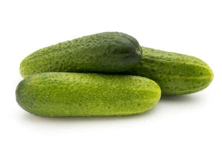 cuke: Eco cucumber on white background. Stock Photo