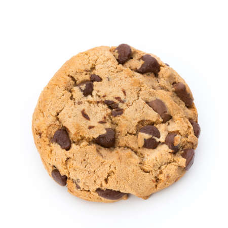 Chocolate chip cookie on white background. Stock Photo