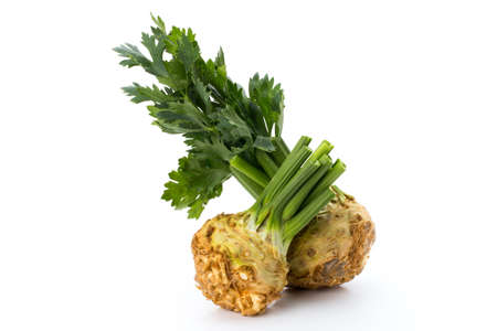Fresh celery root with leaf isolated on white background. Stock Photo