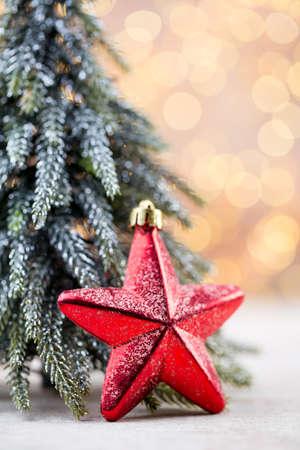 Christmas tree decorations on a bokeh background. Stok Fotoğraf