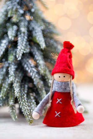 Christmas tree decorations on a bokeh background. Stock Photo